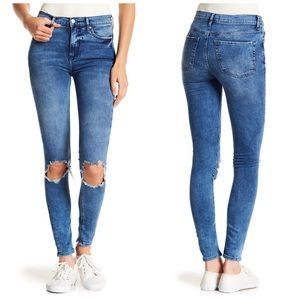 Free People 27L Busted Knee Skinny Ripped Jeans